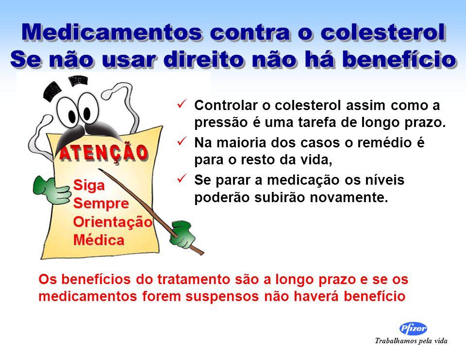 Trabalhamos pela vida Medicamentos contra o colesterol Se não usar direito não há benefício Controlar o colesterol assim como a pressão é uma tarefa d