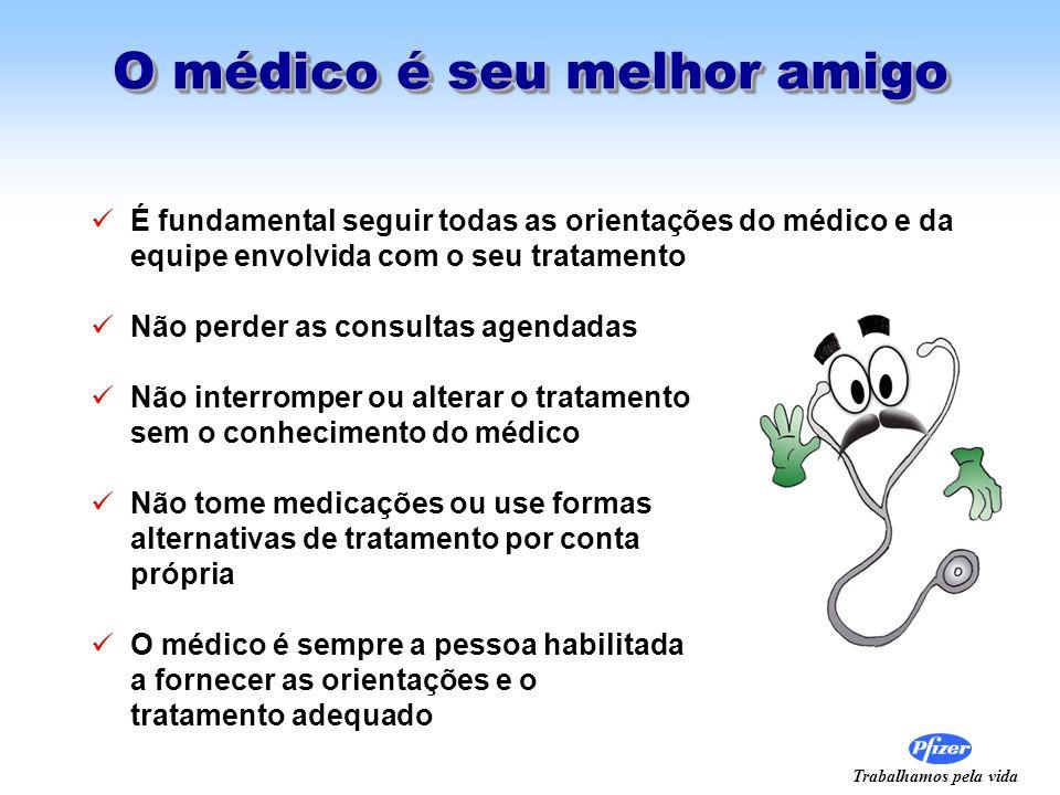 Trabalhamos pela vida O médico é seu melhor amigo É fundamental seguir todas as orientações do médico e da equipe envolvida com o seu tratamento Não p