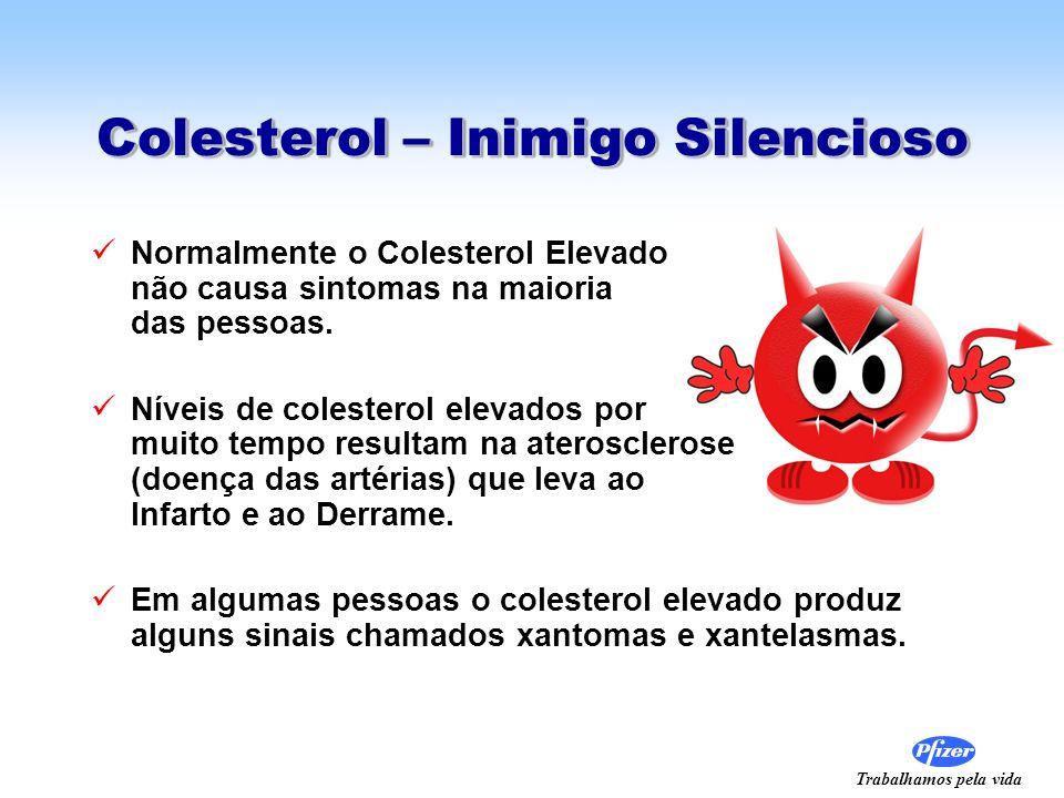 Trabalhamos pela vida Colesterol – Inimigo Silencioso Normalmente o Colesterol Elevado não causa sintomas na maioria das pessoas. Níveis de colesterol