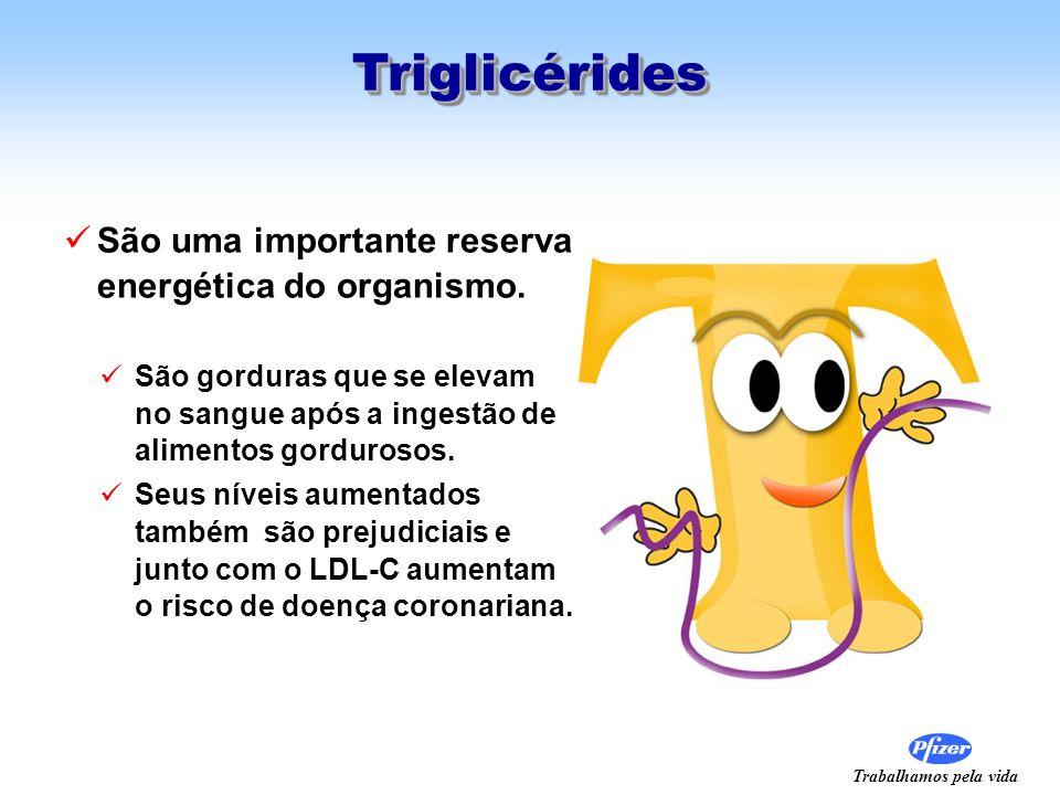 Trabalhamos pela vida TriglicéridesTriglicérides São uma importante reserva energética do organismo. São gorduras que se elevam no sangue após a inges