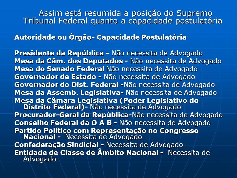 Assim está resumida a posição do Supremo Tribunal Federal quanto a capacidade postulatória Assim está resumida a posição do Supremo Tribunal Federal q