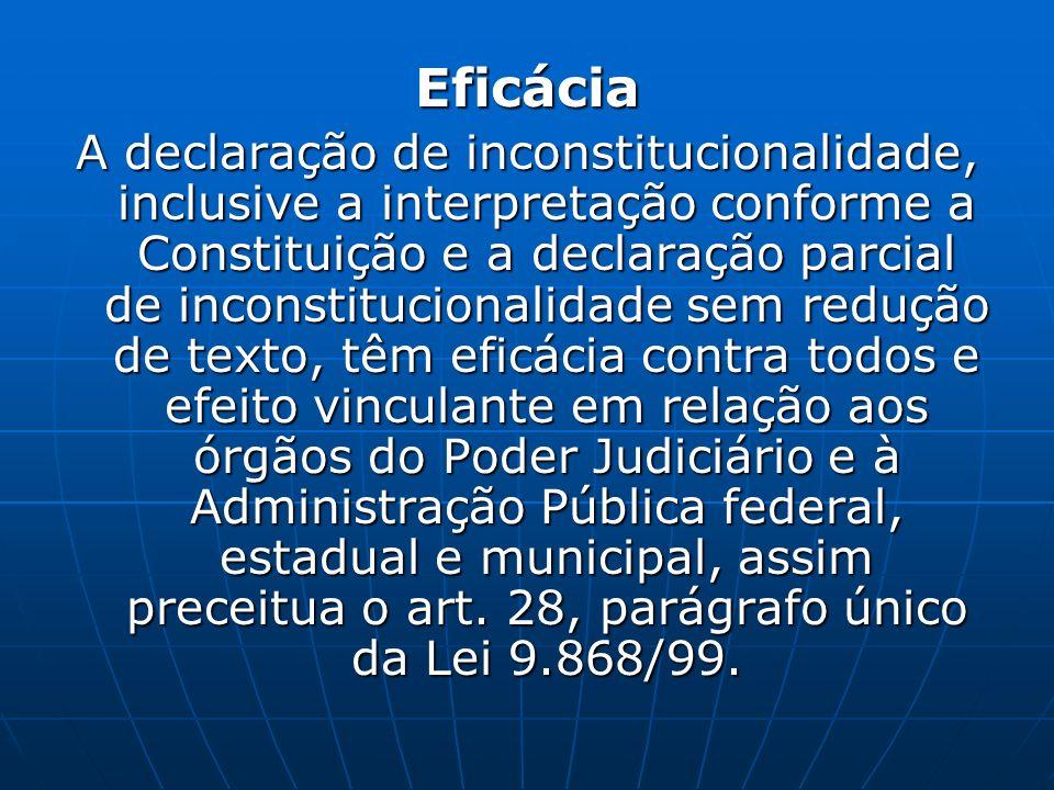 Eficácia A declaração de inconstitucionalidade, inclusive a interpretação conforme a Constituição e a declaração parcial de inconstitucionalidade sem