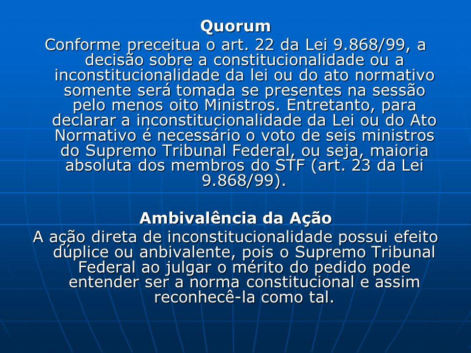 Quorum Conforme preceitua o art. 22 da Lei 9.868/99, a decisão sobre a constitucionalidade ou a inconstitucionalidade da lei ou do ato normativo somen