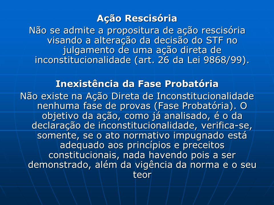 Ação Rescisória Não se admite a propositura de ação rescisória visando a alteração da decisão do STF no julgamento de uma ação direta de inconstitucio