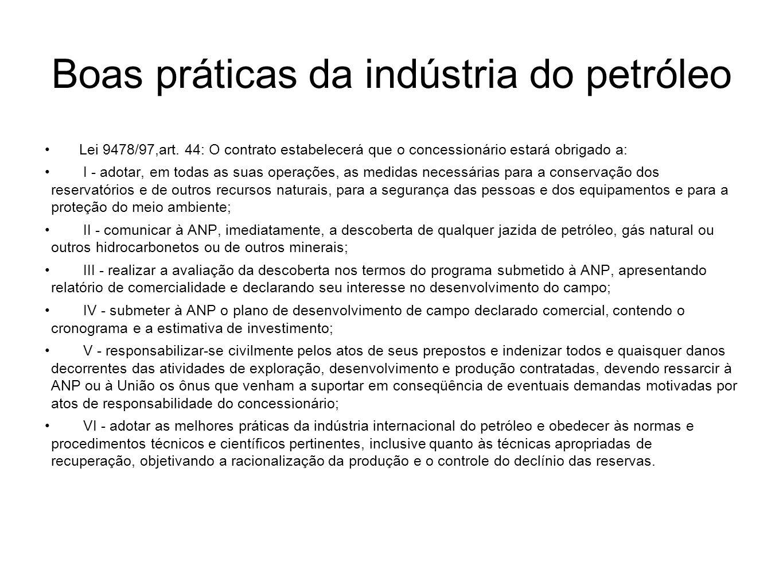 Boas práticas da indústria do petróleo Lei 9478/97,art. 44: O contrato estabelecerá que o concessionário estará obrigado a: I - adotar, em todas as su