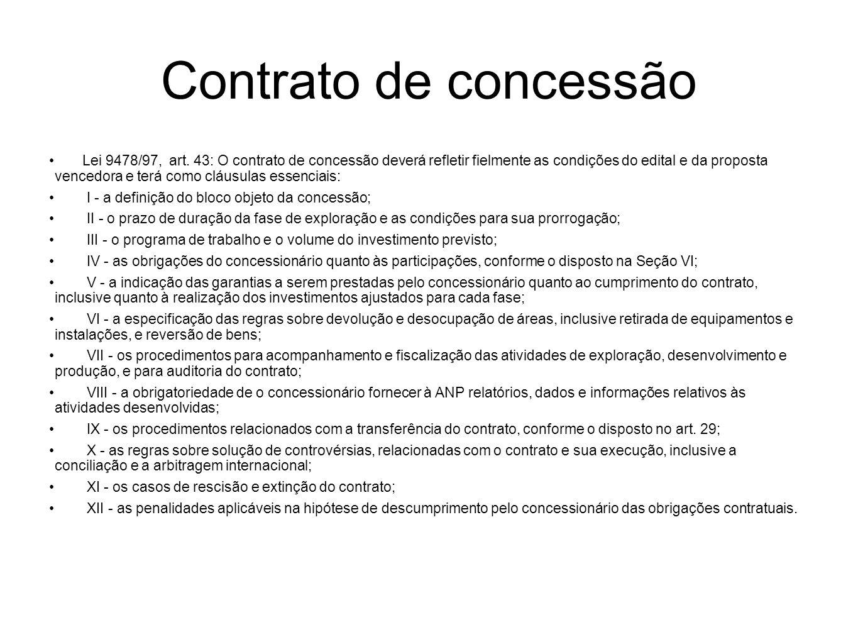 Contrato de concessão Lei 9478/97, art. 43: O contrato de concessão deverá refletir fielmente as condições do edital e da proposta vencedora e terá co