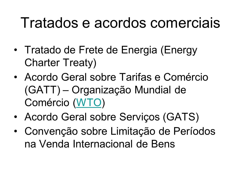 Tratados e acordos comerciais Tratado de Frete de Energia (Energy Charter Treaty) Acordo Geral sobre Tarifas e Comércio (GATT) – Organização Mundial d