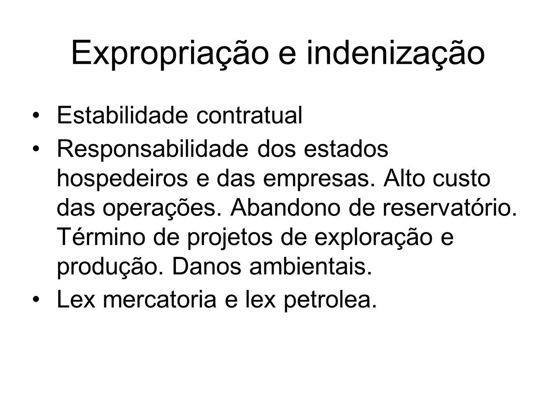 Expropriação e indenização Estabilidade contratual Responsabilidade dos estados hospedeiros e das empresas. Alto custo das operações. Abandono de rese