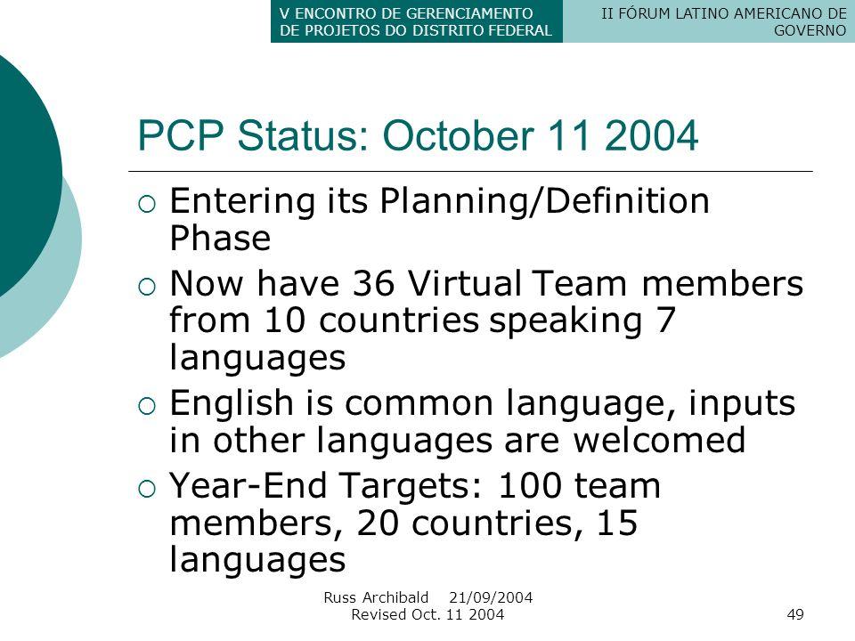II FÓRUM LATINO AMERICANO DE GOVERNO V ENCONTRO DE GERENCIAMENTO DE PROJETOS DO DISTRITO FEDERAL Russ Archibald 21/09/2004 Revised Oct. 11 200449 PCP