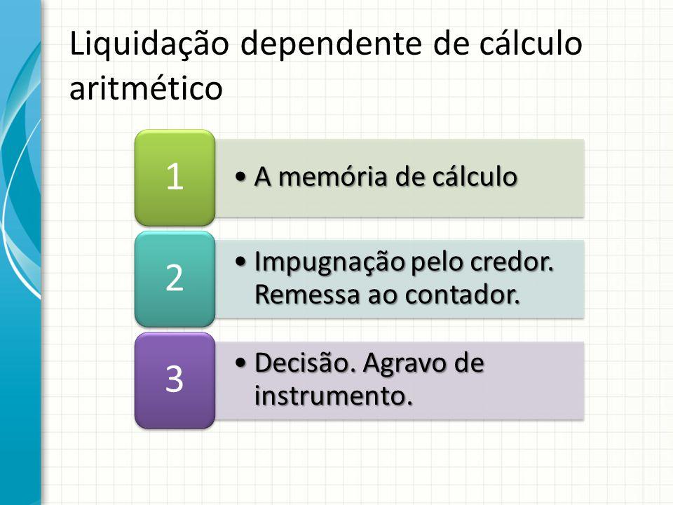 A memória de cálculoA memória de cálculo 1 Impugnação pelo credor. Remessa ao contador.Impugnação pelo credor. Remessa ao contador. 2 Decisão. Agravo