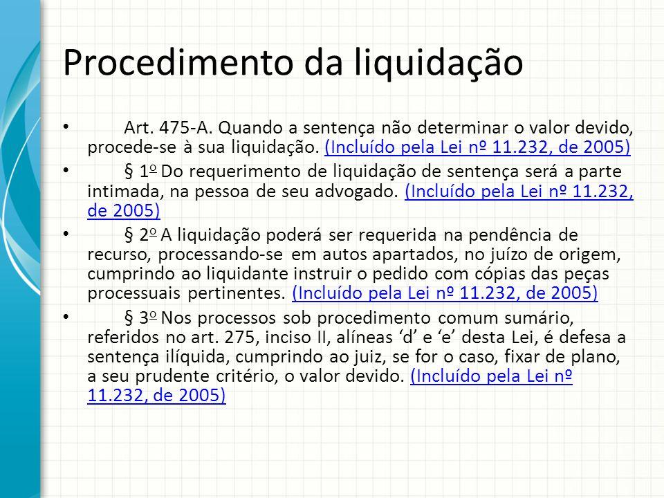 Procedimento da liquidação Art. 475-A. Quando a sentença não determinar o valor devido, procede-se à sua liquidação. (Incluído pela Lei nº 11.232, de