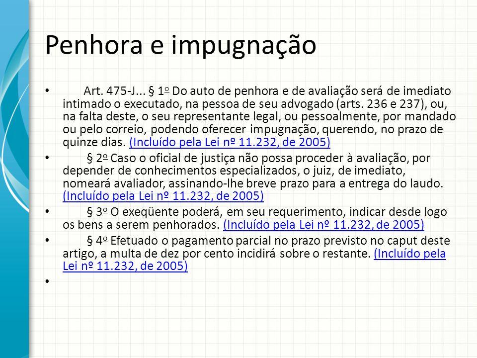 Penhora e impugnação Art. 475-J... § 1 o Do auto de penhora e de avaliação será de imediato intimado o executado, na pessoa de seu advogado (arts. 236