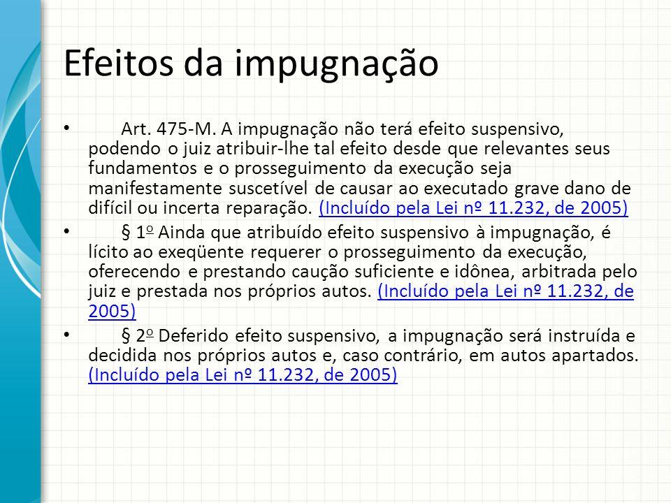 Efeitos da impugnação Art. 475-M. A impugnação não terá efeito suspensivo, podendo o juiz atribuir-lhe tal efeito desde que relevantes seus fundamento