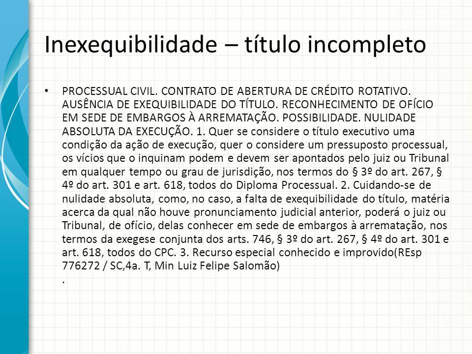 Inexequibilidade – título incompleto PROCESSUAL CIVIL. CONTRATO DE ABERTURA DE CRÉDITO ROTATIVO. AUSÊNCIA DE EXEQUIBILIDADE DO TÍTULO. RECONHECIMENTO