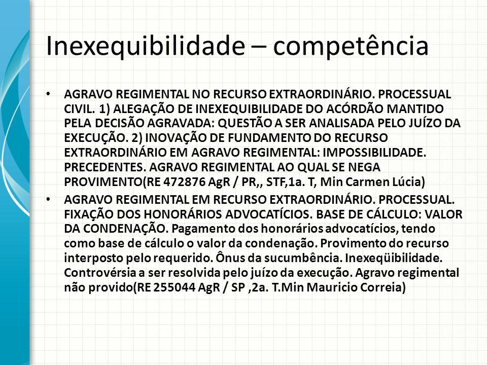 Inexequibilidade – competência AGRAVO REGIMENTAL NO RECURSO EXTRAORDINÁRIO. PROCESSUAL CIVIL. 1) ALEGAÇÃO DE INEXEQUIBILIDADE DO ACÓRDÃO MANTIDO PELA