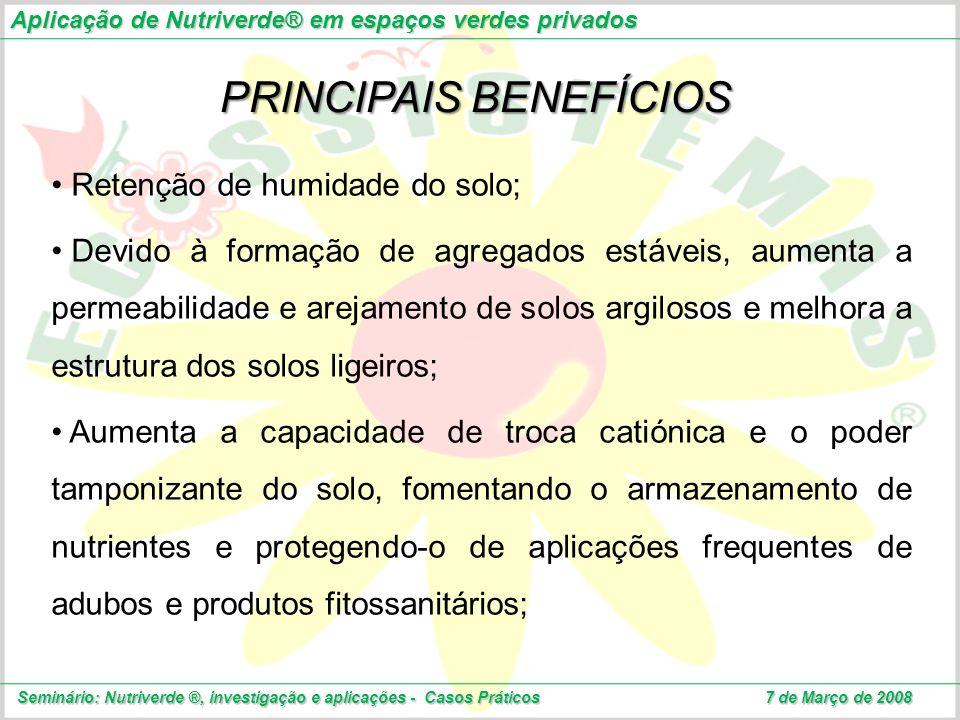 Aplicação de Nutriverde® em espaços verdes privados Seminário: Nutriverde ®, investigação e aplicações - Casos Práticos 7 de Março de 2008 PRINCIPAIS