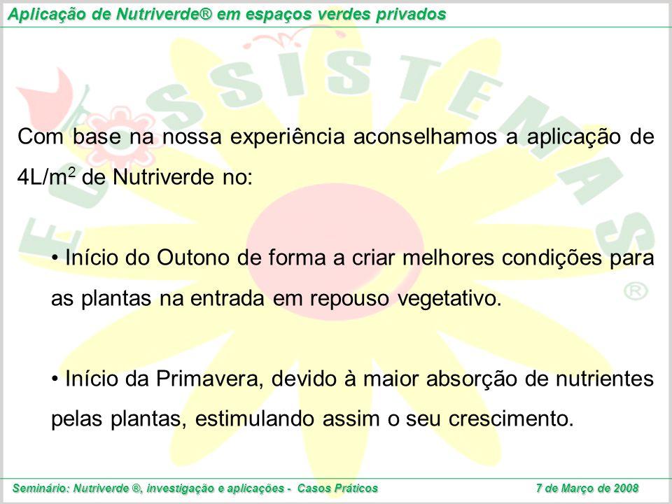 Aplicação de Nutriverde® em espaços verdes privados Seminário: Nutriverde ®, investigação e aplicações - Casos Práticos 7 de Março de 2008 Com base na