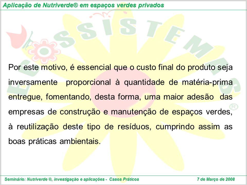 Aplicação de Nutriverde® em espaços verdes privados Seminário: Nutriverde ®, investigação e aplicações - Casos Práticos 7 de Março de 2008 Por este mo