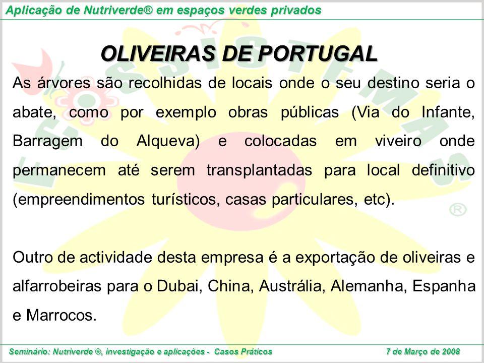 OLIVEIRAS DE PORTUGAL As árvores são recolhidas de locais onde o seu destino seria o abate, como por exemplo obras públicas (Via do Infante, Barragem