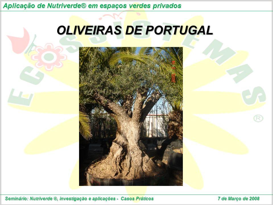 OLIVEIRAS DE PORTUGAL Aplicação de Nutriverde® em espaços verdes privados Seminário: Nutriverde ®, investigação e aplicações - Casos Práticos 7 de Mar
