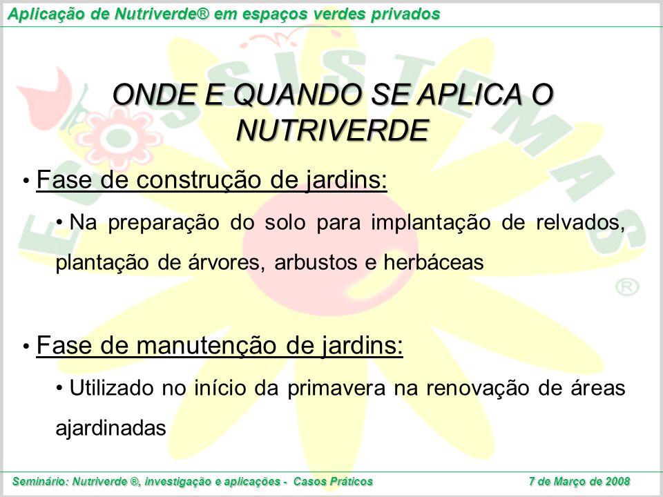 Aplicação de Nutriverde® em espaços verdes privados Seminário: Nutriverde ®, investigação e aplicações - Casos Práticos 7 de Março de 2008 Fase de con