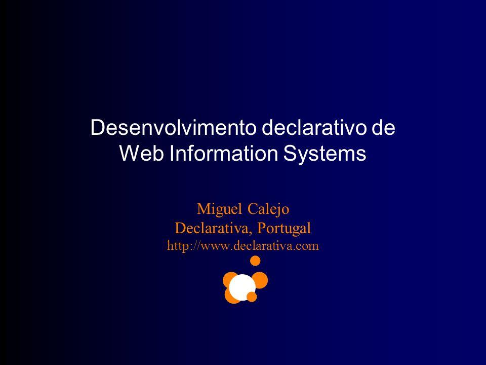 http://www.declarativa.com Workshop IFORNOVA Comentários p/ mc@declarativa.com Copyright Declarativa 2002 2 Declarativa, 18-Nov-2002 Intersecção de Sistemas de Informação e Inteligência Artificial 2 anos e meio, 5 engenheiros, ferramentas próprias Duas áreas de desenvolvimento declarativo –InterProlog: Java JFC/Swing + Prolog –WAM: browser+Active Server Pages+SQL Server XSB Inc./DoD (USA); Min.Economia, CVRVV, CRAT, Servisoft (Portugal)