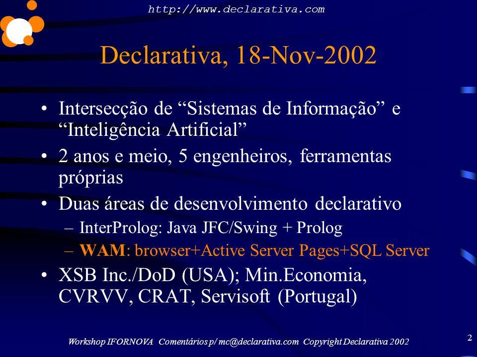 http://www.declarativa.com Workshop IFORNOVA Comentários p/ mc@declarativa.com Copyright Declarativa 2002 2 Declarativa, 18-Nov-2002 Intersecção de Si
