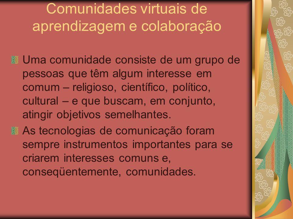 Comunidades virtuais de aprendizagem e colaboração Uma comunidade consiste de um grupo de pessoas que têm algum interesse em comum – religioso, cientí
