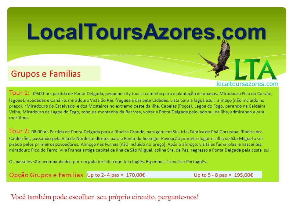 LocalToursAzores.com Grupos e Familias Tour 1: 09:00 hrs partida de Ponta Delgada, pequeno city tour a caminho para a plantação de ananás. Miradouro P