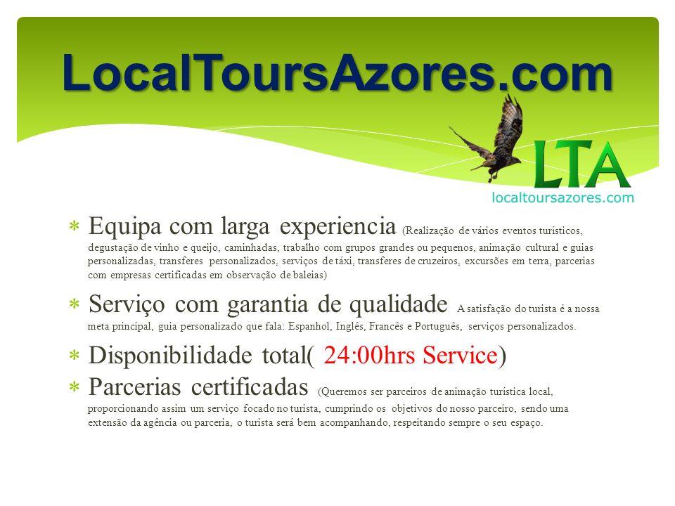 A nossa frota 1 taxi 4 lugares 1 taxi 6 lugares 1 van 8 lugares Para grandes grupos, temos uma parceria com uma empresa de autocarros LocalToursAzores.com