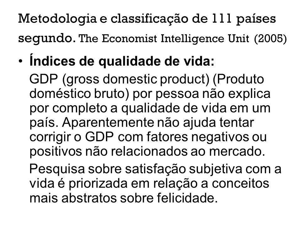 Metodologia e classificação de 111 países segundo. The Economist Intelligence Unit (2005) Índices de qualidade de vida: GDP (gross domestic product) (