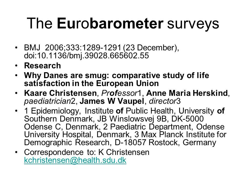 The Eurobarometer surveys BMJ 2006;333:1289-1291 (23 December), doi:10.1136/bmj.39028.665602.55 Research Why Danes are smug: comparative study of life