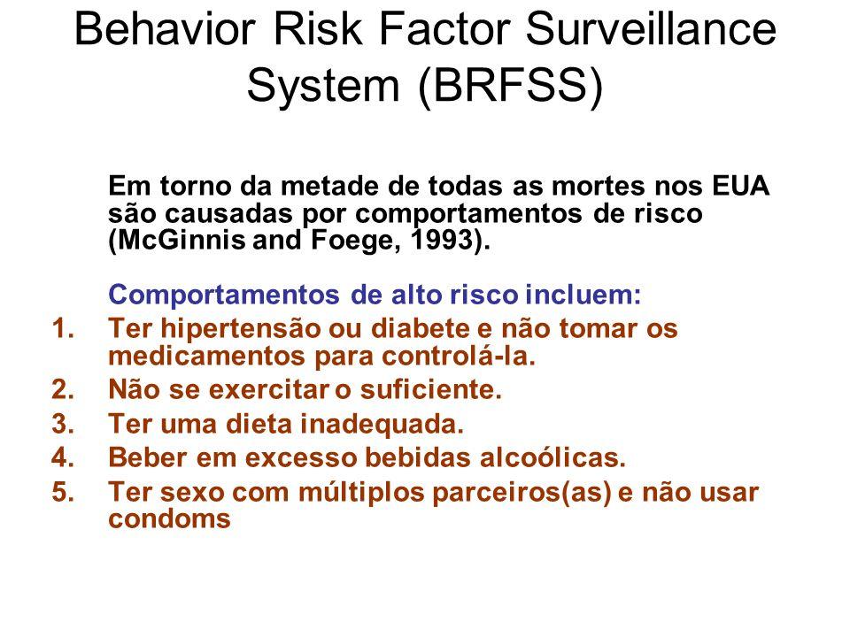 Behavior Risk Factor Surveillance System (BRFSS) Em torno da metade de todas as mortes nos EUA são causadas por comportamentos de risco (McGinnis and