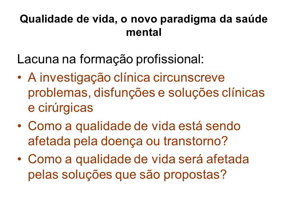 Qualidade de vida, o novo paradigma da saúde mental Lacuna na formação profissional: A investigação clínica circunscreve problemas, disfunções e soluç