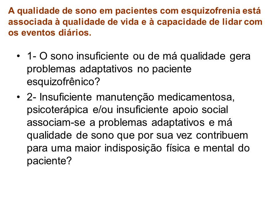 1- O sono insuficiente ou de má qualidade gera problemas adaptativos no paciente esquizofrênico? 2- Insuficiente manutenção medicamentosa, psicoterápi