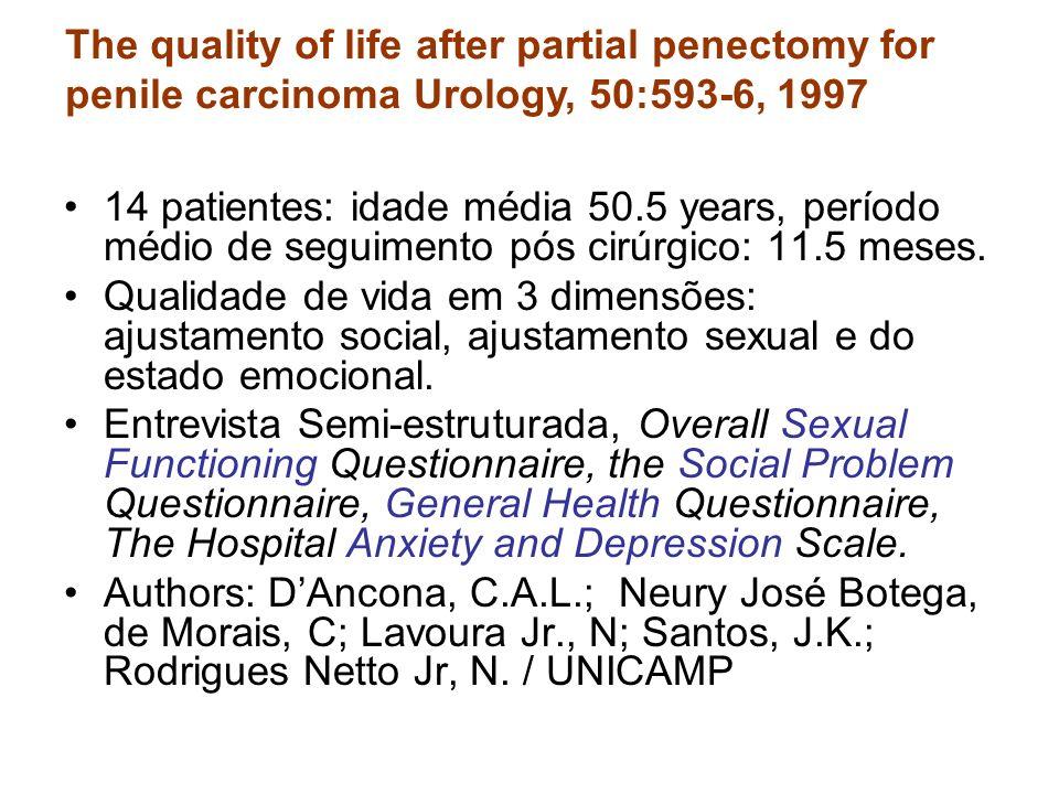 14 patientes: idade média 50.5 years, período médio de seguimento pós cirúrgico: 11.5 meses. Qualidade de vida em 3 dimensões: ajustamento social, aju