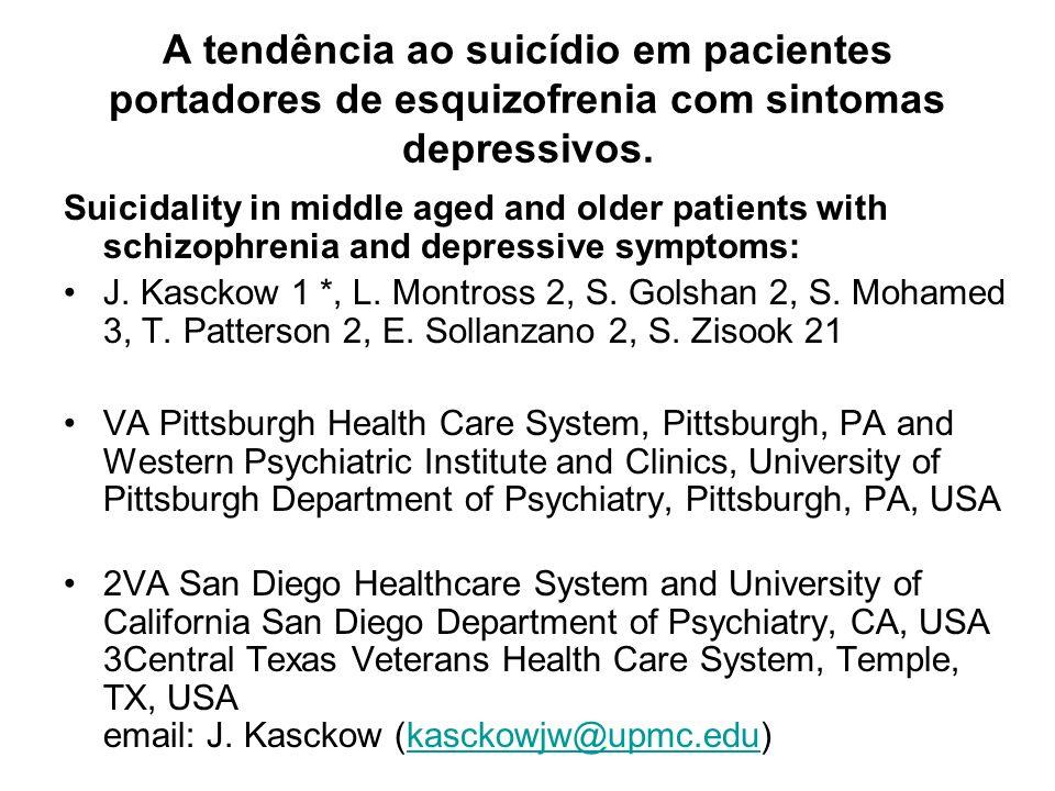 A tendência ao suicídio em pacientes portadores de esquizofrenia com sintomas depressivos. Suicidality in middle aged and older patients with schizoph