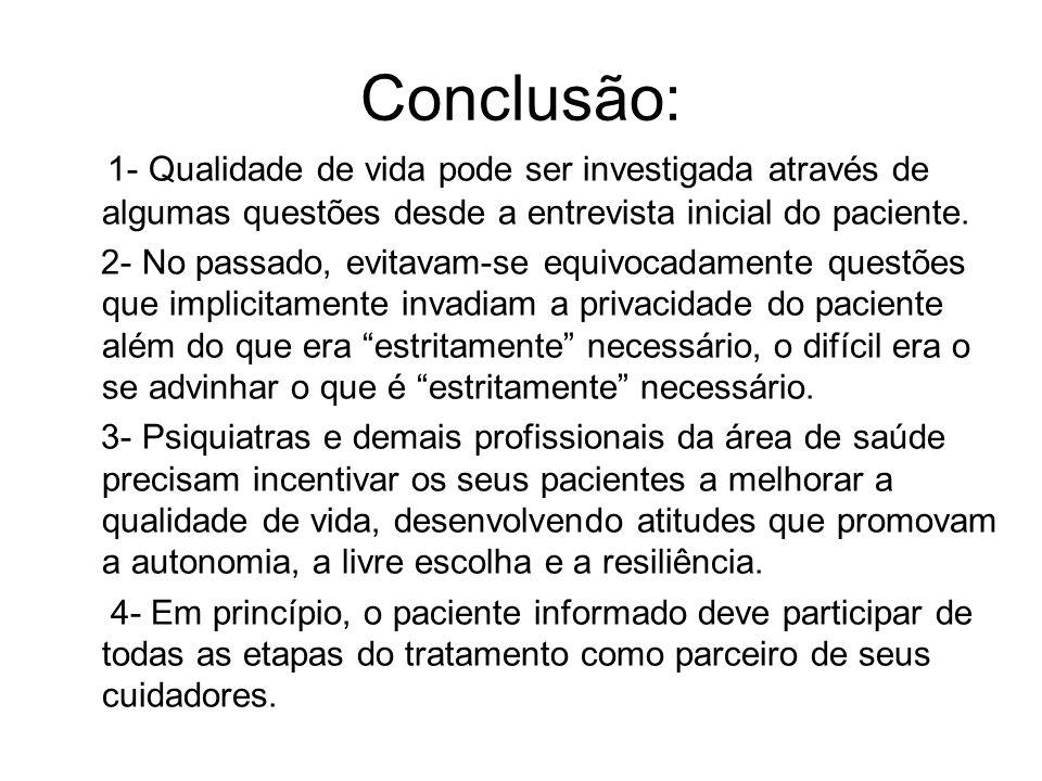 Conclusão: 1- Qualidade de vida pode ser investigada através de algumas questões desde a entrevista inicial do paciente. 2- No passado, evitavam-se eq