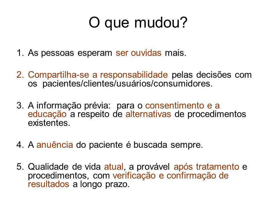 O que mudou? 1.As pessoas esperam ser ouvidas mais. 2.Compartilha-se a responsabilidade pelas decisões com os pacientes/clientes/usuários/consumidores