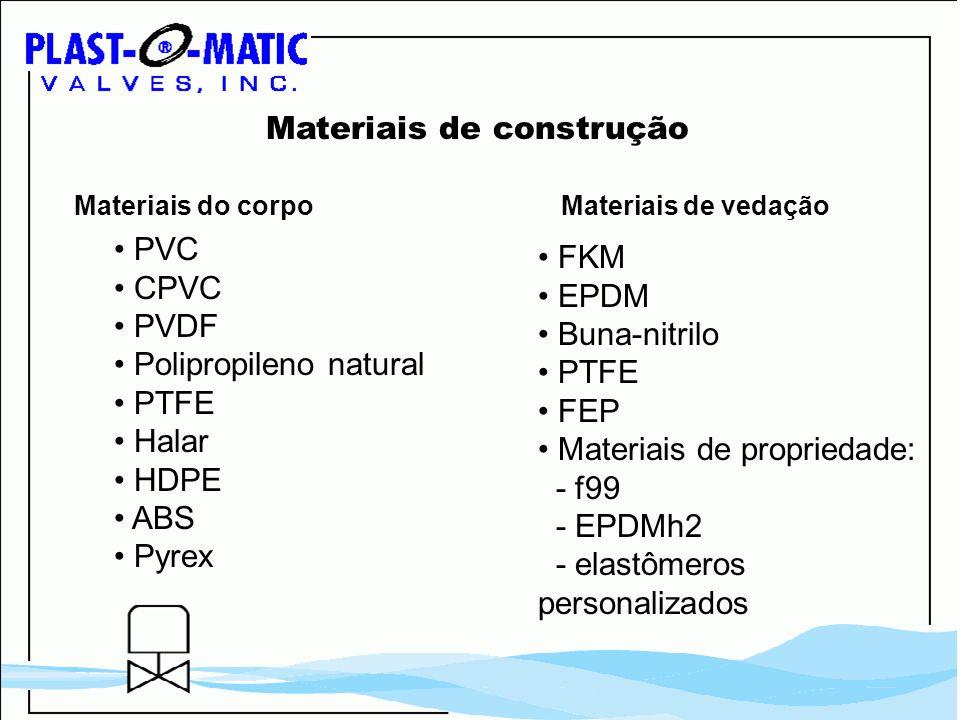 Materiais de construção PVC CPVC PVDF Polipropileno natural PTFE Halar HDPE ABS Pyrex FKM EPDM Buna-nitrilo PTFE FEP Materiais de propriedade: - f99 -