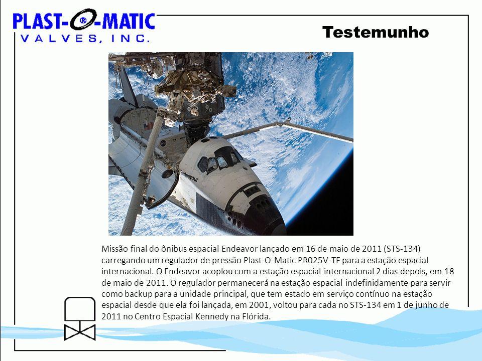 Testemunho Missão final do ônibus espacial Endeavor lançado em 16 de maio de 2011 (STS-134) carregando um regulador de pressão Plast-O-Matic PR025V-TF