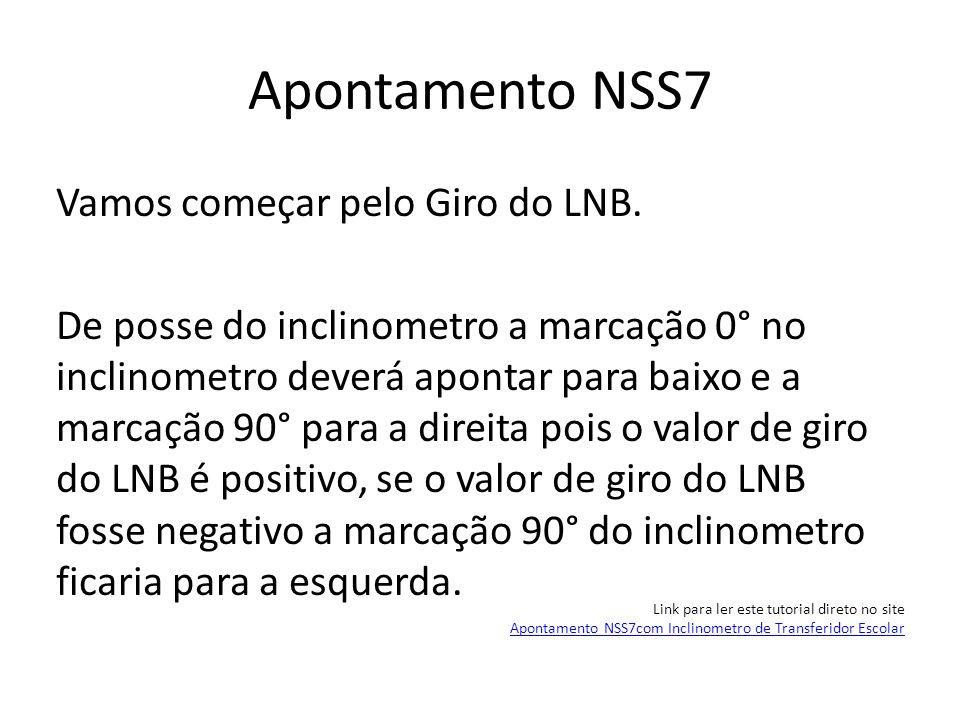 Apontamento NSS7 Vamos começar pelo Giro do LNB. De posse do inclinometro a marcação 0° no inclinometro deverá apontar para baixo e a marcação 90° par