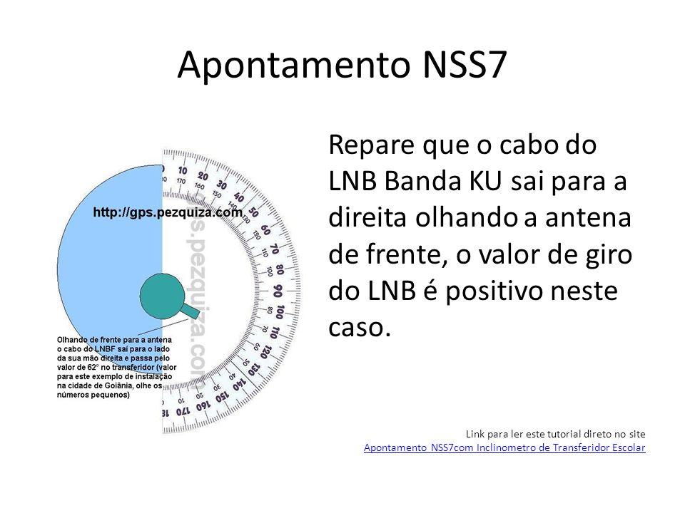 Apontamento NSS7 Repare que o cabo do LNB Banda KU sai para a direita olhando a antena de frente, o valor de giro do LNB é positivo neste caso. Link p