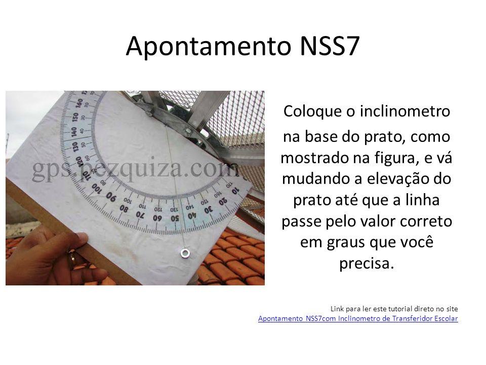 Apontamento NSS7 Coloque o inclinometro na base do prato, como mostrado na figura, e vá mudando a elevação do prato até que a linha passe pelo valor c