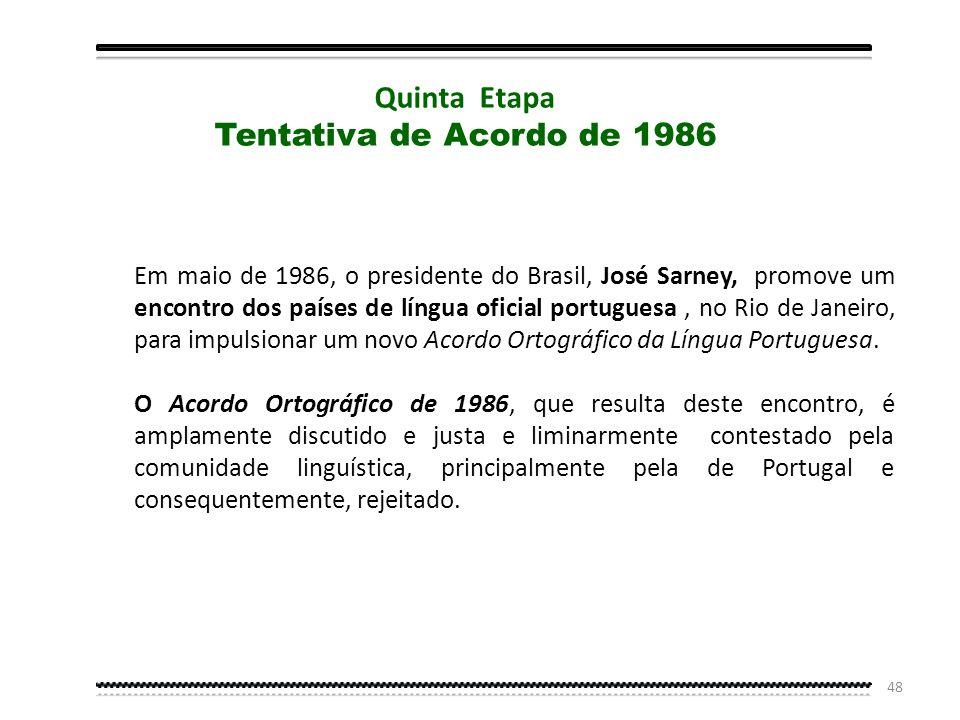 47 1973 – São promulgadas alterações em Portugal, reduzindo as divergências ortográficas com o Brasil. 1975 – A Academia das Ciências de Lisboa e a Ac