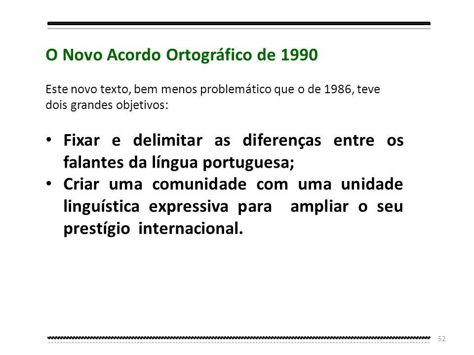 51 O que é o Acordo Ortográfico da Língua Portuguesa de 1990 O Acordo Ortográfico da Língua Portuguesa de 1990 é um documento de cariz internacional,