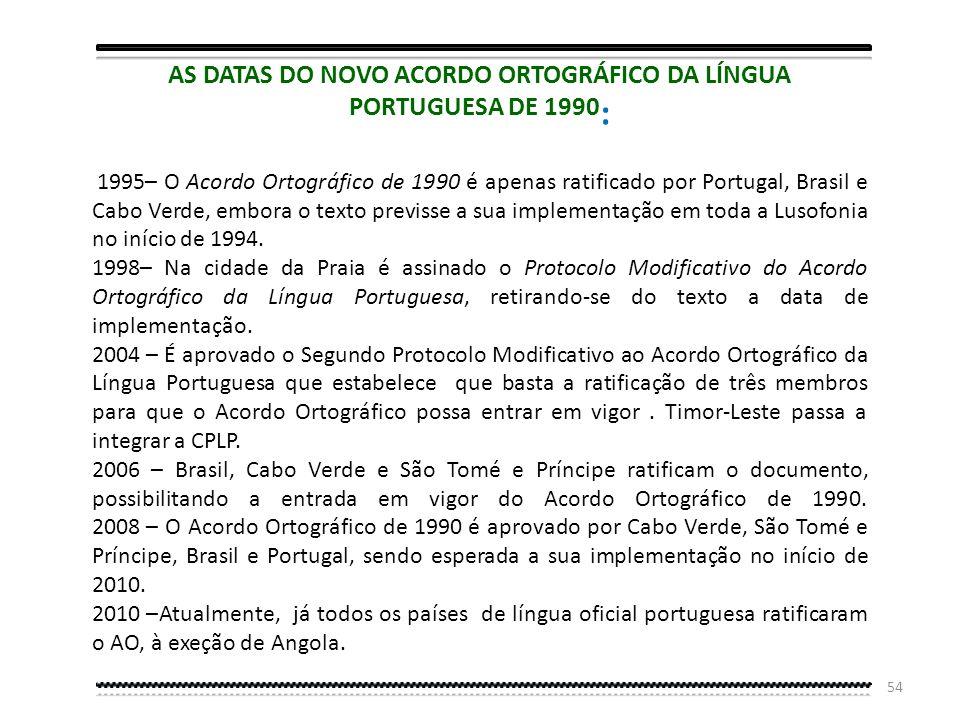 53 MEMBROS DA COMISSÃO DO ACORDO ORTOGRÁFICO DE 1990 Angola: Filipe Silvino de Pina Zau Brasil: Antônio Houaiss e Nélida Piñon Cap Verde: Gabriel Moac
