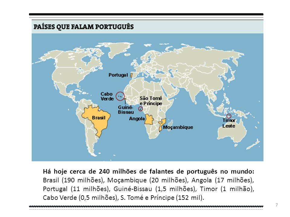 6 De há cem anos para cá a língua portuguesa passa do oitavo para o quinto lugar da lista das línguas maternas mais faladas do mundo, tendo ultrapassa