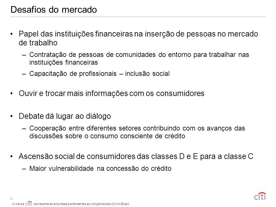 A marca representa as empresas pertencentes ao conglomerado Citi no Brasil. 8 Desafios do mercado Papel das instituições financeiras na inserção de pe
