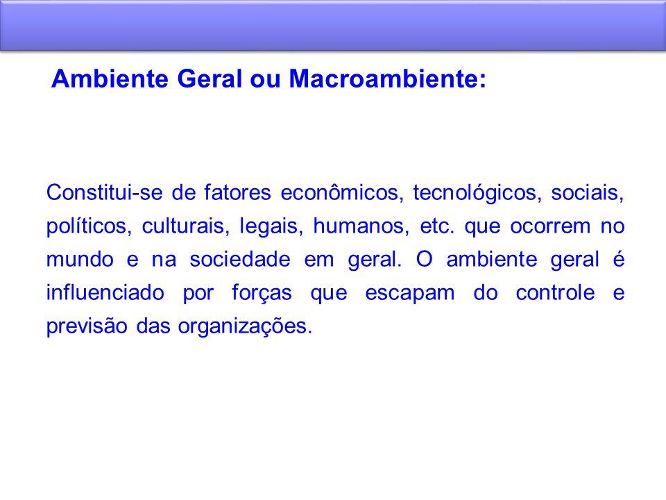 Ambiente Geral ou Macroambiente: Constitui-se de fatores econômicos, tecnológicos, sociais, políticos, culturais, legais, humanos, etc. que ocorrem no